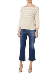 Max Mara CARLO longsleeve knit with frayed stripe