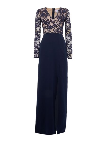Jessica Wright Long Sleeved Lace Top Maxi Dress