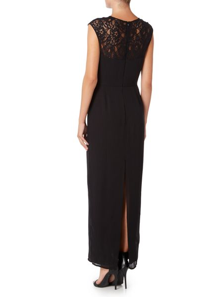 Elise Ryan Sleeveless Lace Insert Maxi Dress