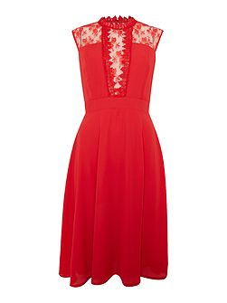 Sleeveless High Neck Lace Skater Dress