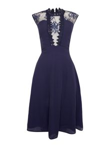 Elise Ryan Sleeveless High Neck Lace Skater Dress