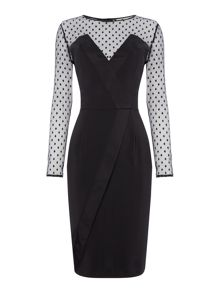 Elise Ryan Long Sleeved Spot Mesh Bodycon Dress