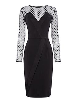 Long Sleeved Spot Mesh Bodycon Dress