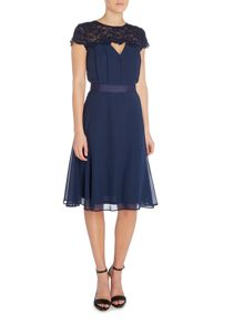 Elise Ryan Cap Sleeve Pleated Top Skater Dress