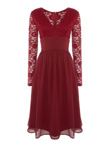 Elise Ryan Long Sleeved Sequin Lace Top Skater Dress