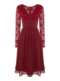 Long Sleeved Sequin Lace Top Skater Dress
