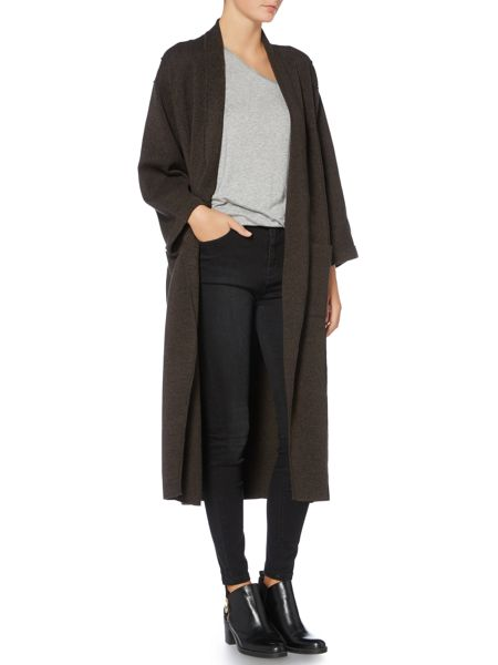 Label Lab Wicklow khaki marl clean edge cardigan