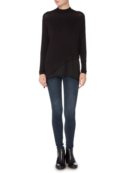 Label Lab Asymmetric knit and chiffon mix top
