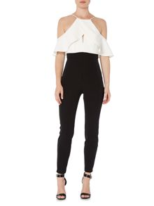 Bardot Sleeveless Cut Out Two Tone Jumpsuit
