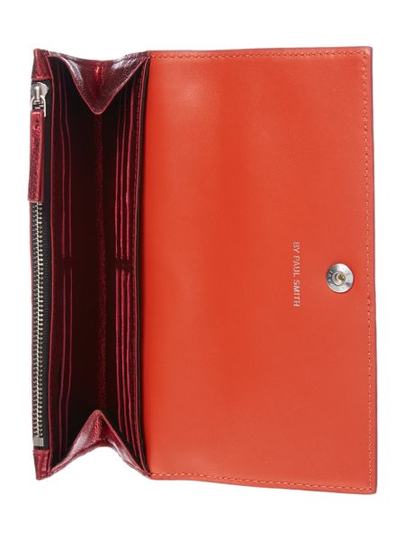 Paul Smith London Metallic red large flapover purse