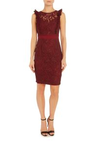 Little Mistress Sleeveless lace top bodycon dress