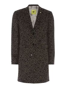 Noose and Monkey Leopard Print Wool Overcoat Coat