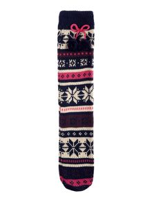 Elle Fairisle slipper socks with pom pom