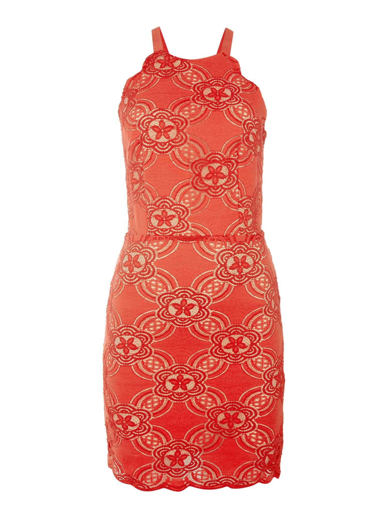 Endless Rose Sleeveless Thin Strappy Bodycon Dress, Red