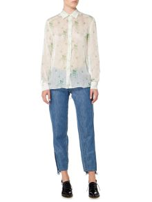 Sportmax Code Longsleeve silk shirt with floral print