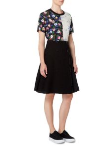 Sportmax Code A line front button up skirt with split