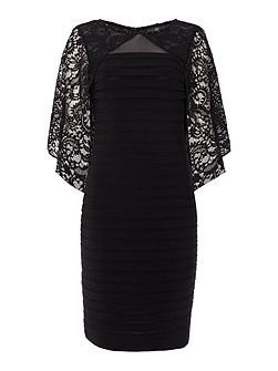 Pintuck Dress with Lace Cape