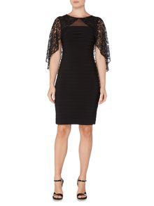 Adrianna Papell Pintuck Dress with Lace Cape