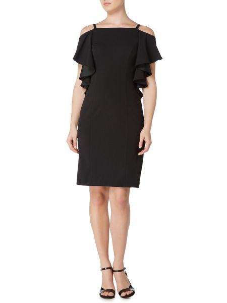 Adrianna Papell Ruffle cold shoulder shift dress