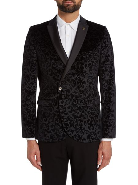 Noose and Monkey  Double Breasted Floral Print Tuxedo Jacket