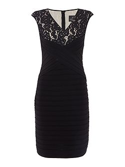 Lace V Front Pintuck Shift Dress