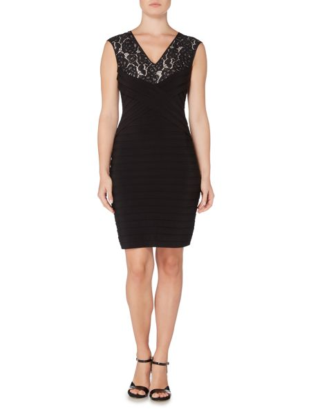 Adrianna Papell Lace V Front Pintuck Shift Dress