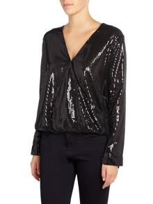 Endless Rose Long Sleeved V Neck Sequin Blouse
