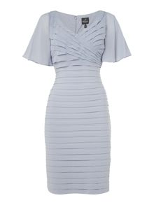 Adrianna Papell Flutter Sleeve Pintuck Dress