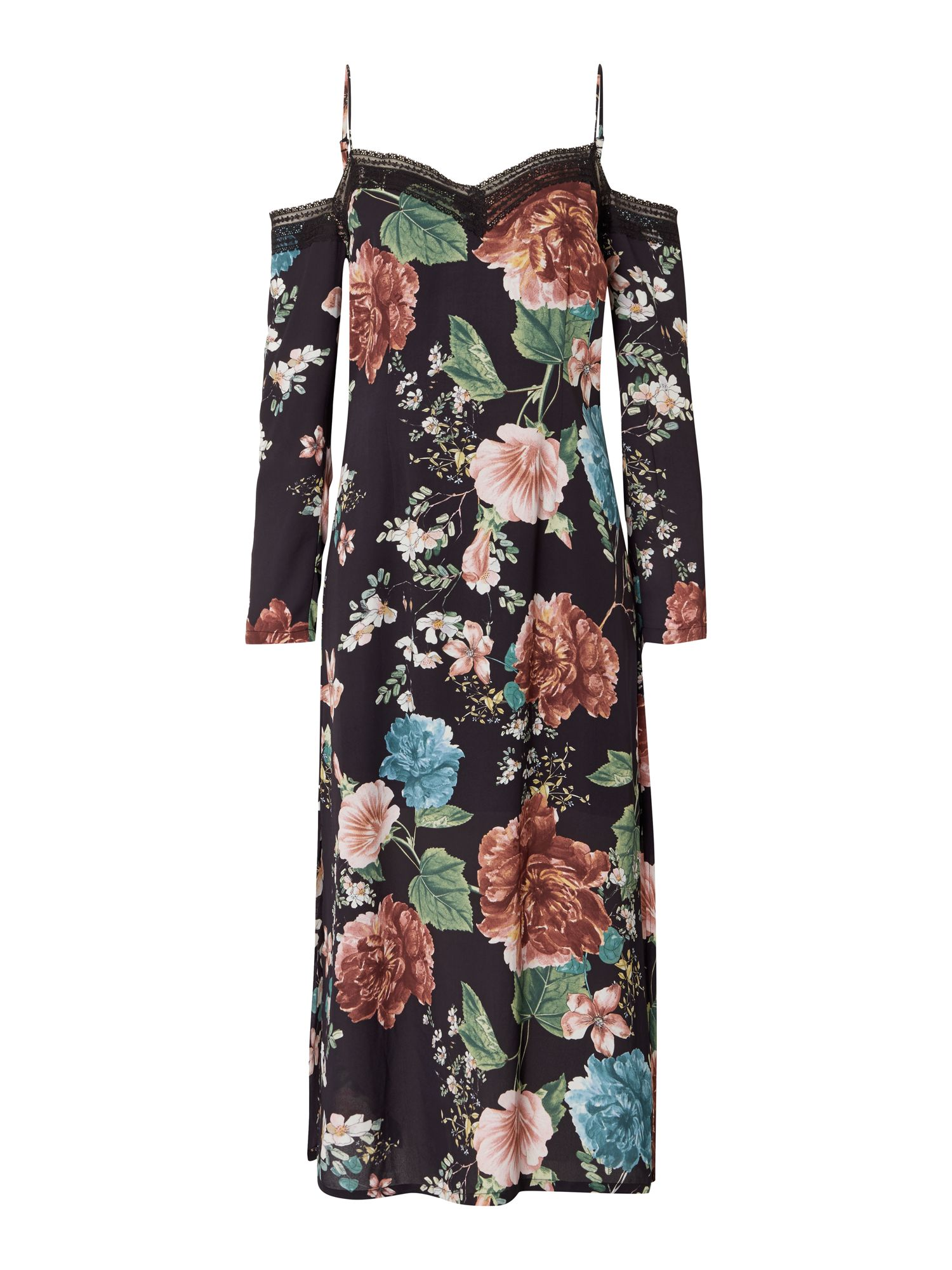 Bardot Cold Shoulder Floral Pencil Dress, Multi-Coloured