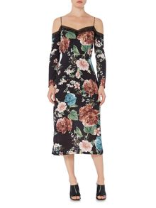 Bardot Cold Shoulder Floral Pencil Dress