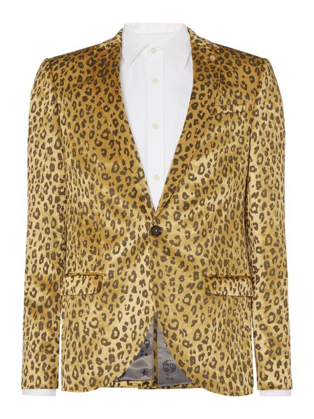 Noose and Monkey Skinny Fit Leopard Print Jacket
