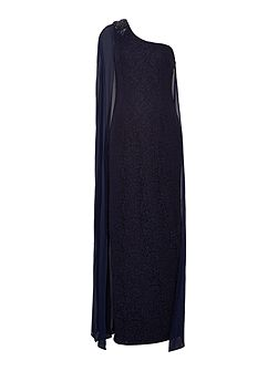 One shoulder lace gown with chiffon drape