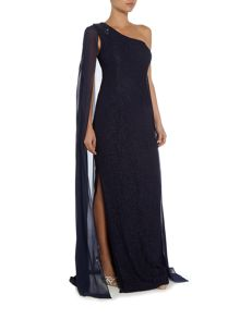 Adrianna Papell One shoulder lace gown with chiffon drape