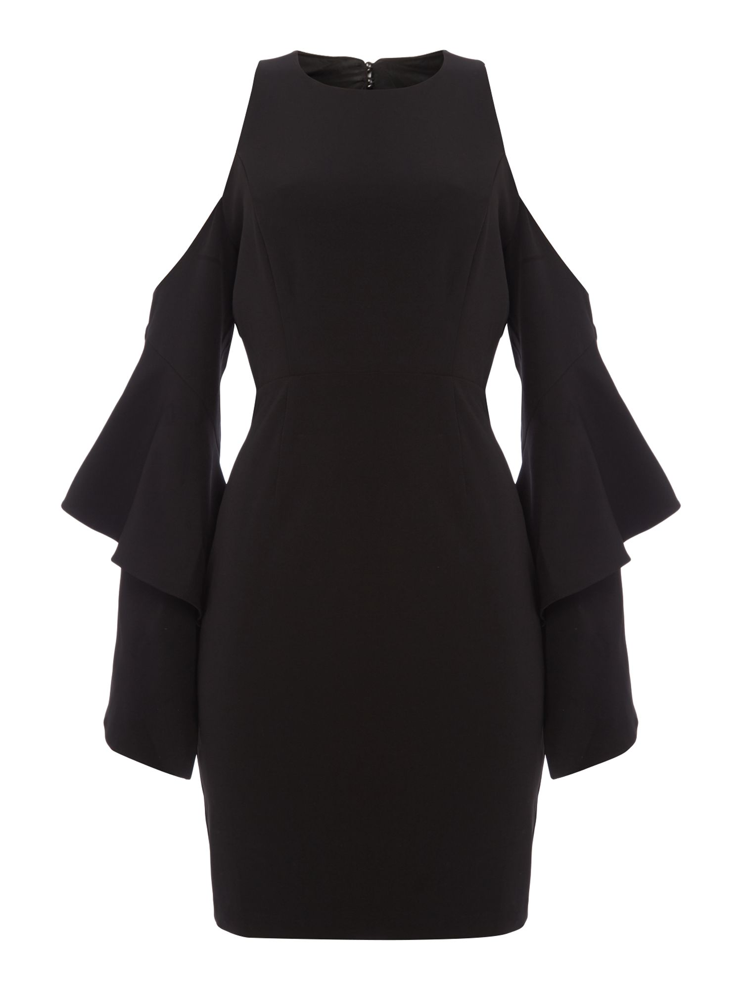 Bardot Long Sleeved Cold Shoulder Open Back Dress, Black