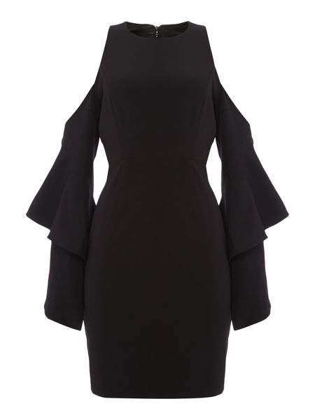Bardot Long Sleeved Cold Shoulder Open Back Dress