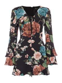 Bardot Long Sleeved Floral Lace Up Detail Playsuit