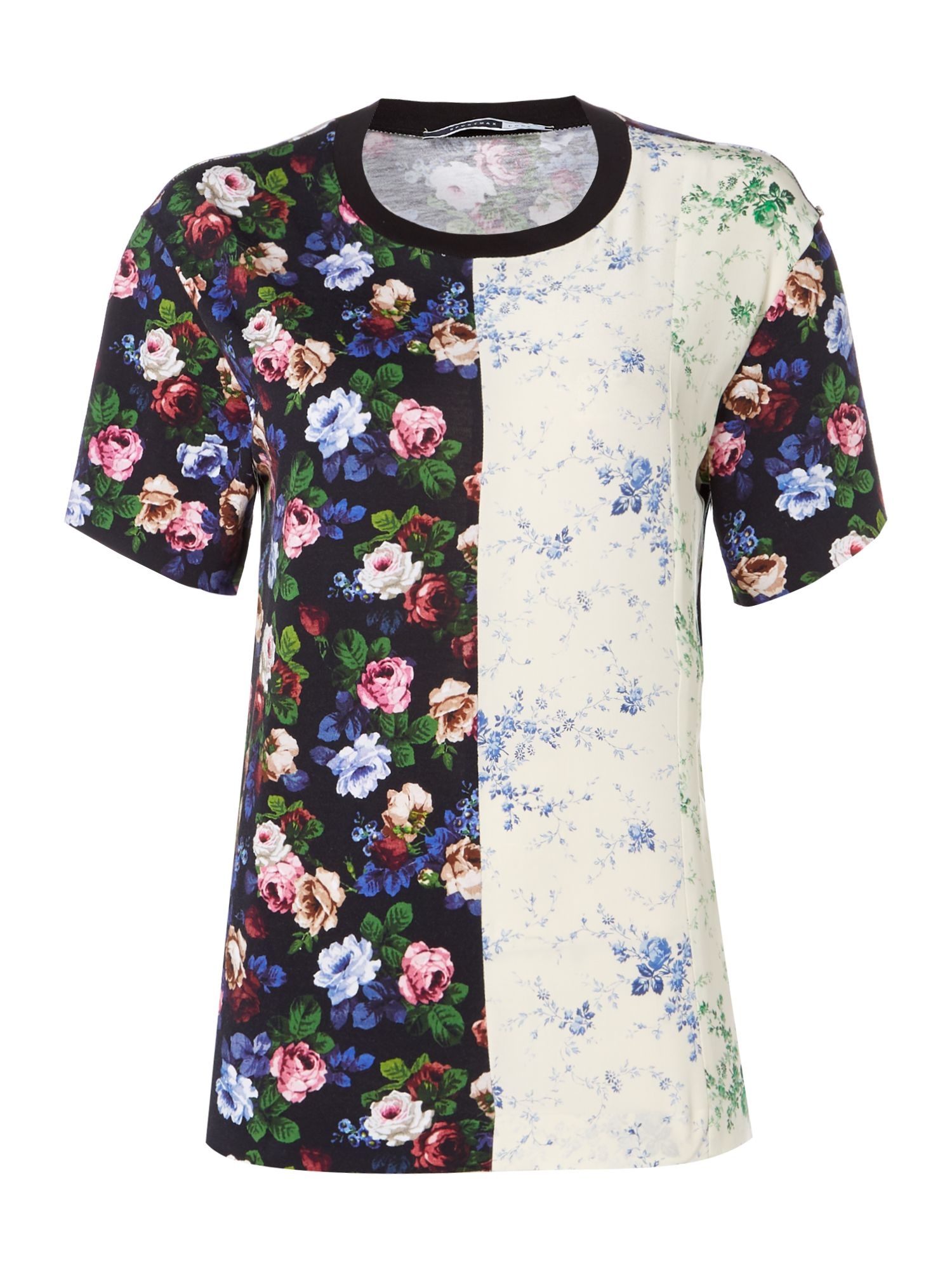 Sportmax Code jersey tee in floral print and contrast colour, Black