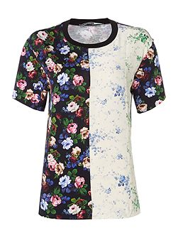 jersey tee in floral print and contrast colour
