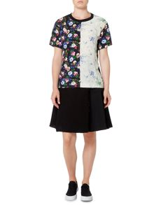 Sportmax Code jersey tee in floral print and contrast colour
