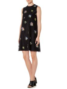 Sportmax Code Embroidered sleeveless overlay shift dress