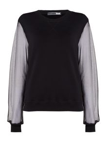 Sportmax Code Knitted sweatshirt with sheer sleeves