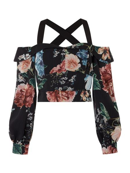 Bardot Cold Shoulder Floral Strap Back Detail Crop Top