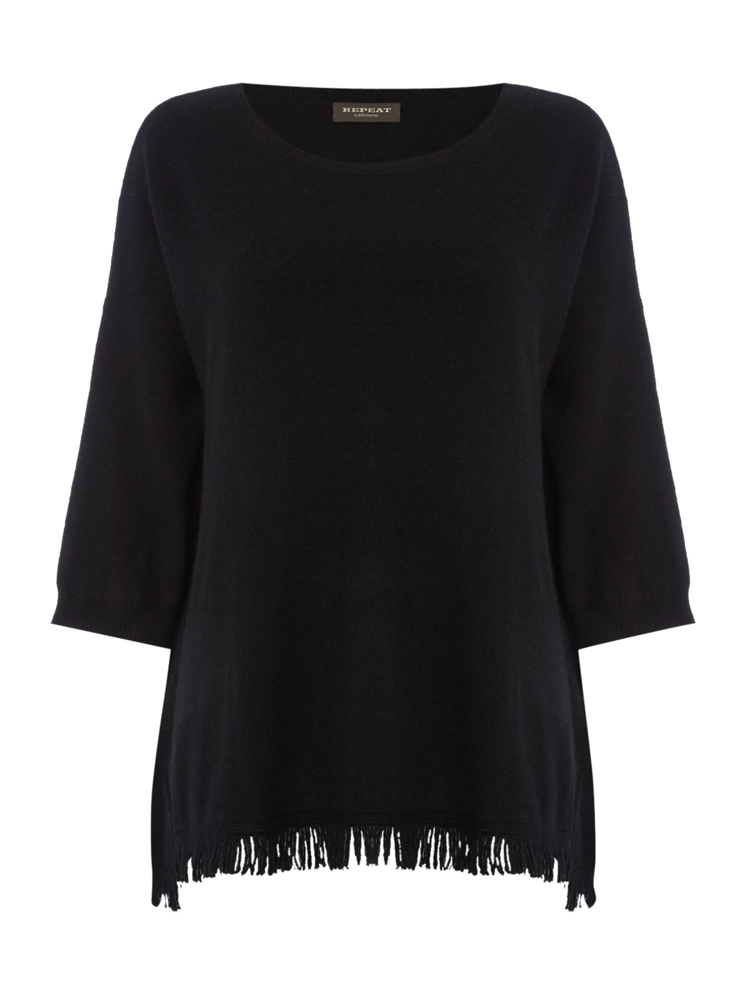 Repeat Cashmere Repeat Cashmere Round neck fringed bottom jumper, Black