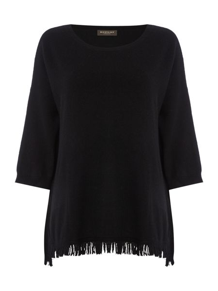 Repeat Cashmere Round neck fringed bottom jumper