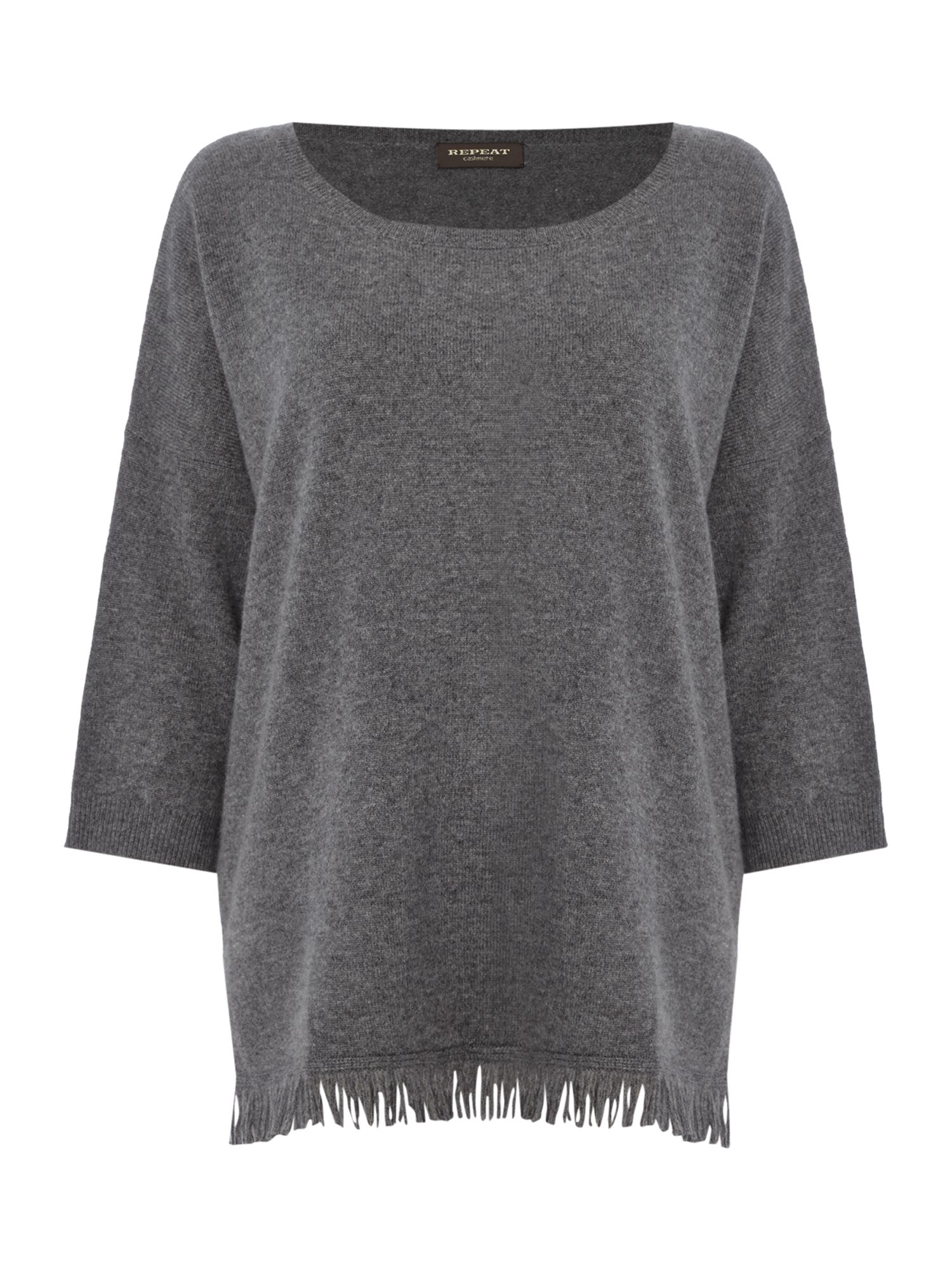 Repeat Cashmere Repeat Cashmere Round neck fringed bottom jumper, Mid Grey