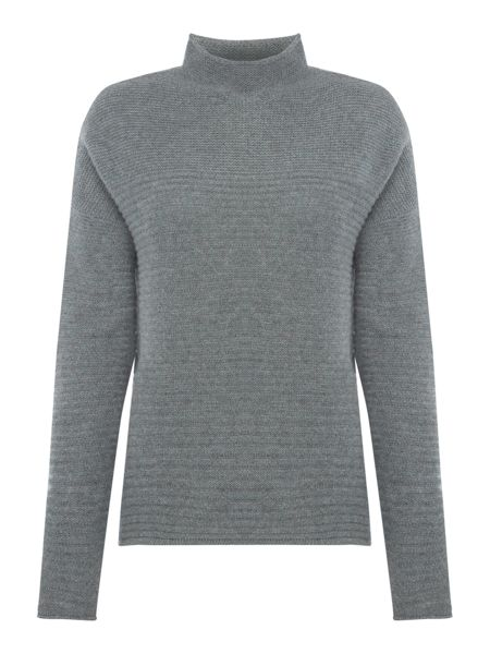 Repeat Cashmere Mock neck ribbed jumper