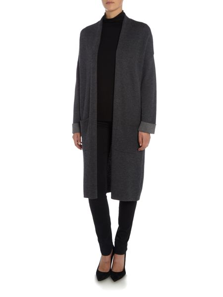 Repeat Cashmere Longline open pocket cardigan