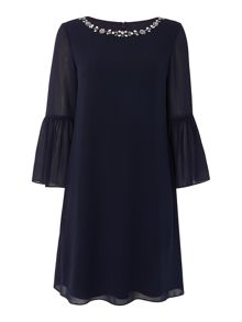 Eliza J Bell sleeve dress with embellished neckline