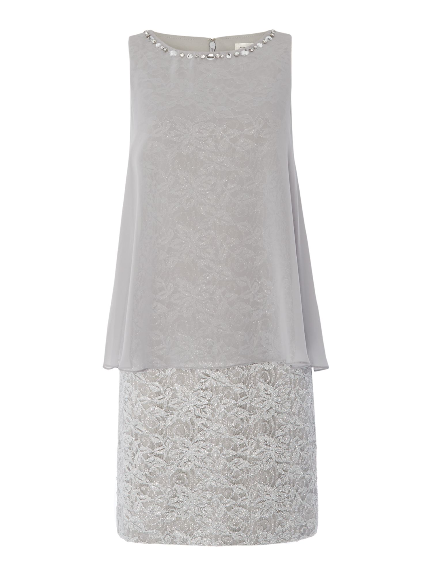 Eliza J Metallic lace dress with chiffon pop over, Silver