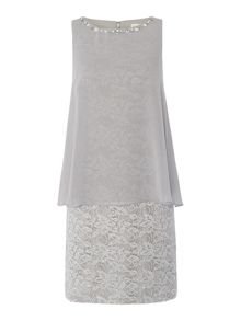 Eliza J Metallic lace dress with chiffon pop over